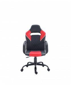 Renly Comoda y moderna silla gamer con base metálica de estrella negra con giro de 360°, ajuste de altura y reclinación brindadote horas de comodidad para tus juegos. Brazos fijos, asiento y respaldar en color negro y rojo.