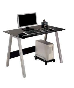 Preto Elegante y moderno escritorio de  vidrio pintado en negro, base de metal y con carrito para ubicar el cpu Medida 1.00 x .70 x 0.75 m