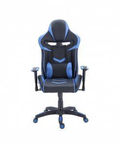 Davos Cómoda y moderna silla gamer con base metálica de estrella negra con giro de 360°, ajuste de altura y reclinación brindandote horas de comodidad para tus juegos. Brazos fijos, asiento y respaldar con almohadon en color negro y azul.
