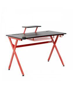 Arrow Dinámico escritorio gamer color negro, patas metálicas color rojo, portavaso, canasta metálica para el teclado, porta audífonos y repisa. Medidas 1.20 x 0.60 x 0.75 x 0.60 x .86 m