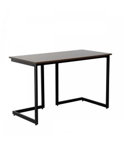 Muk Elegante escritorio color madera con patas de metal pintadas en negro. Medida 1.20 x 0.60 x 0.75