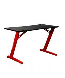 Drax Funcional escritorio gamer con sobre en color negro, patas metálicas color rojo, portavaso y porta para audífonos. Medidas 1.20 x 0.68 x 0.75