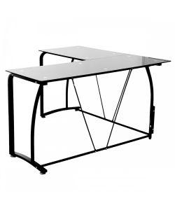 Fallen Elegante y moderno escritorio de vidrio pintado en negro, base de metal. Medida 1.40 x 1.40 x 0.75