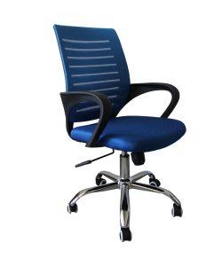 Ero Innovador diseño de Silla Semi Ejecutiva , con respaldar resistente en malla azul y asiento acolchado revestido en tela azul, brazos fijos, palanca de ajuste de altura de asiento y fijación de respaldo, perilla de ajuste de tensión del respaldo , base cromada y ruedas de nylon