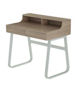 MALM Practico y moderno escritorio con acabados en madera y patas metálicas color blanco. Diseño con compartimientos en superficie y cajones. Medidas 0.90 x 0.58 x 0.885 m