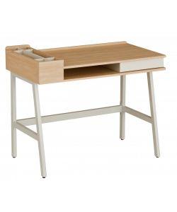 NEIDEN Divertido y funcional escritorio con compartimientos prácticos y elegantes. Acabado en color madera y metal color blanco. Medidas 1.00 x 0.60 x 0.76 m