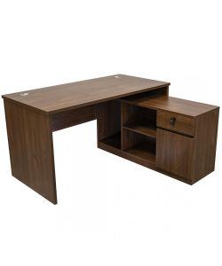 Essential Escritorio en L, gabinete lateral multiuso con sobre en color Dark Walnut.  Con medidas de:  1.40m x  70cm x 75cm de 1.20m  x 45cm x 75cm