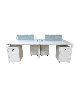 Essential Estación de 4 puestos con gabinete movil, color blanco y patas blancas.  Medidas de 2.40m x 1.20m x 75cm.