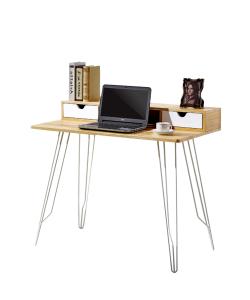 FREY Escritorio color madera con patas metálicas en color blanco. 1.00m x 0.60m.