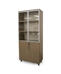 Essential Gabinete alto de color teka y gabinete superior en acrilico transparente con patas negras. Medidas de 80cm x 40cm x 180cm.