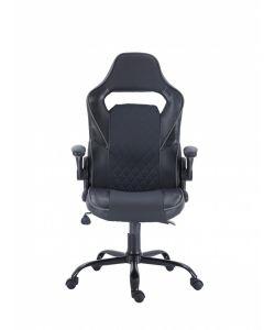 Jero Comoda y moderna silla gamer con base metálica de estrella negra con giro de 360°, ajuste de altura y reclinación brindadote horas de comodidad para tus juegos. Brazos fijos, asiento y respaldar en color negro.