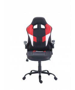 Sansa Comoda y moderna silla gamer con base metálica de estrella negra con giro de 360°, ajuste de altura y reclinación brindadote horas de comodidad para tus juegos. Brazos ajustables, asiento y respaldar con almohadon en color negro y rojo.