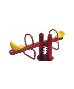 Mustard Balancín subibaja en color rojo con asientos en amarillo. Medidas: 1.93x0.40x0.76