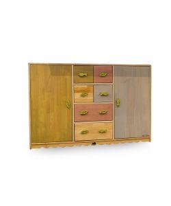 Rainbow Gavetero infantil cuerpo color madera y cajones en variados colores. Medida: 1.20 x 0.30x0.81cm