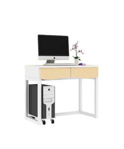 Pitaya Escritorio con cajones y sobre color madera, patas metalicas en blanco y porta CPU. Medidas: 1.00 x 0.50 x 0.75cm