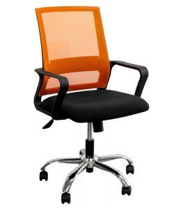 Basic Silla semi ejecutiva con respaldar en malla naranja y asiento en tela negra, base cromada giratoria, brazos fijos, mecanismo de ajuste de altura y de respaldo.