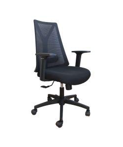 Inus Silla Semi Ejecutiva, con respaldar resistente en malla negra, asiento en tela negra, apoya brazos fijo, palanca de ajuste de altura de asiento y fijación de respaldo, perilla de ajuste de tension del respaldo, base negra y ruedas de nylon