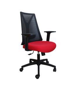 Inus Silla Semi Ejecutiva, con respaldar resistente en malla negra, asiento en tela roja, apoya brazos fijo, palanca de ajuste de altura de asiento y fijación de respaldo, perilla de ajuste de tension del respaldo, base negra y ruedas de nylon