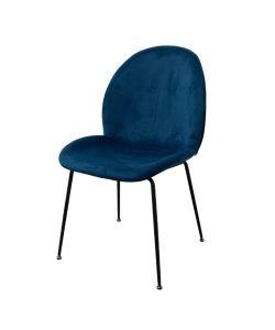 Hill Silla SOHO tapizada en elegante color azul y patas negras.