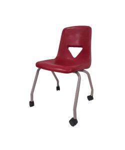 """Class Silla escolar para niños con concha de polietileno en color rojo vino , patas metálicas con ruedas. Medidas: 17-1/2"""""""