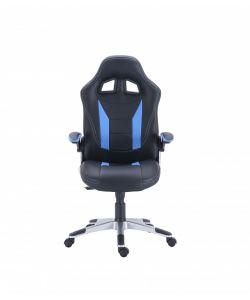 Tarly Comoda y moderna silla gamer con base metálica de estrella cromada con giro de 360°, ajuste de altura y reclinación brindadote horas de comodidad para tus juegos. Brazos fijos, asiento y respaldar en color negro y azul.