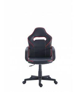 Tormud Comoda y moderna silla gamer con base metálica de estrella negra con giro de 360°, ajuste de altura y reclinación brindadote horas de comodidad para tus juegos. Brazos fijos, asiento y respaldar en color negro y rojo.