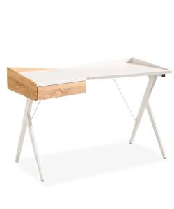 VENTO Escritorio con un cajón en color madera y blanco, patas metálicas color blanco. 1.20m x 0.60m
