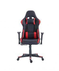 Viserys Comoda y moderna silla gamer con base metálica de estrella negra con giro de 360°, ajuste de altura y reclinación brindadote horas de comodidad para tus juegos. Brazos ajustables, asiento y respaldar con almohadon en area lumbar y cuello en color negro y rojo.