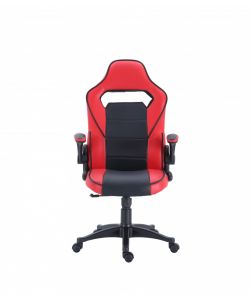 Walder Comoda y moderna silla gamer con base metálica de estrella negra con giro de 360°, ajuste de altura y reclinación brindadote horas de comodidad para tus juegos. Brazos fijos, asiento y respaldar con almohadon en color negro y rojo.