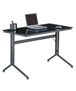 Klass Innovador diseño de escritorio con vidrio pintado en negro y base gris de metal. Medida 1.20 x.60 x 0.77 m